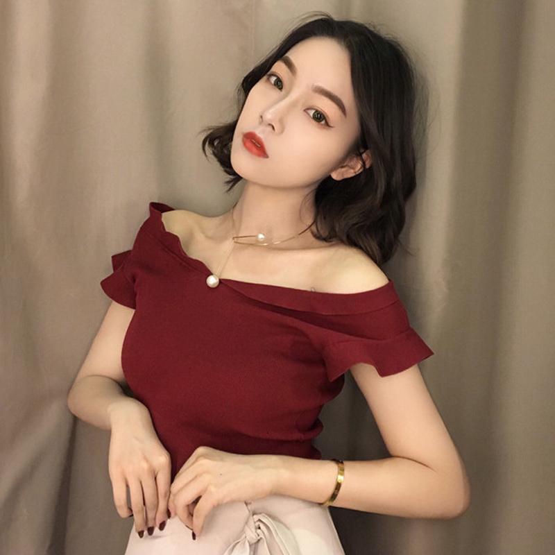 红色针织衫 2018新款百搭港味复古chic韩版时尚小飞袖针织衫漏肩纯色套头上衣_推荐淘宝好看的红色针织衫