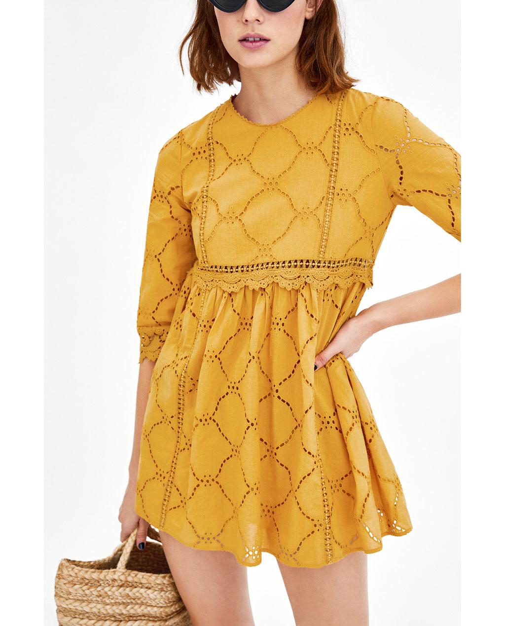 黄色连衣裙 ZYZA同款夏装新款女装刺绣镂空面料连体裤式连衣裙 00881125305_推荐淘宝好看的黄色连衣裙