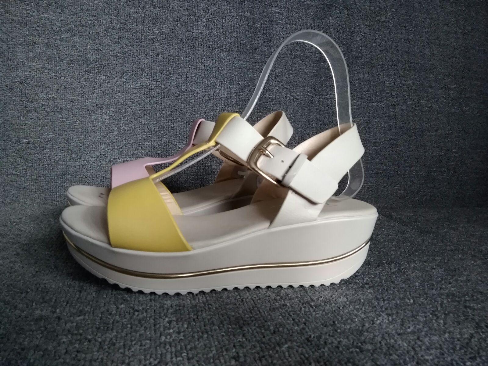黄色凉鞋 品牌女鞋凉鞋松糕底真皮38元真皮牛皮 黄色  粉色 凉鞋学生摇摇鞋_推荐淘宝好看的黄色凉鞋