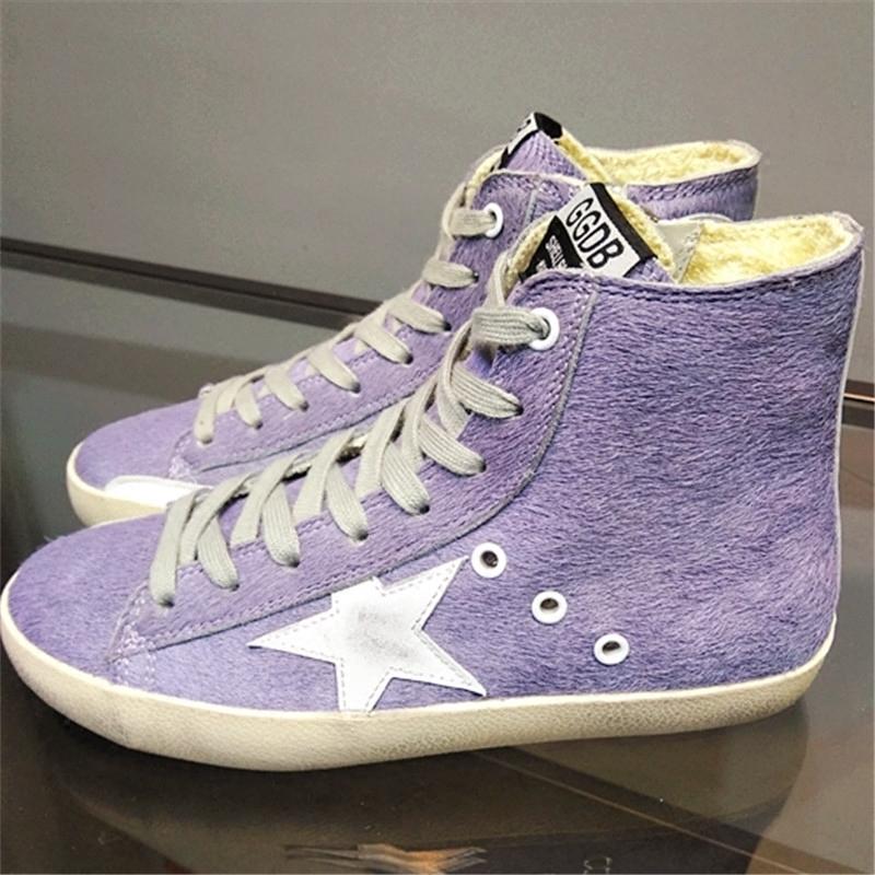 紫色高帮鞋 新品百搭阿希哥紫色马毛内增高平底带星星做旧女GGDB小脏鞋高帮_推荐淘宝好看的紫色高帮鞋