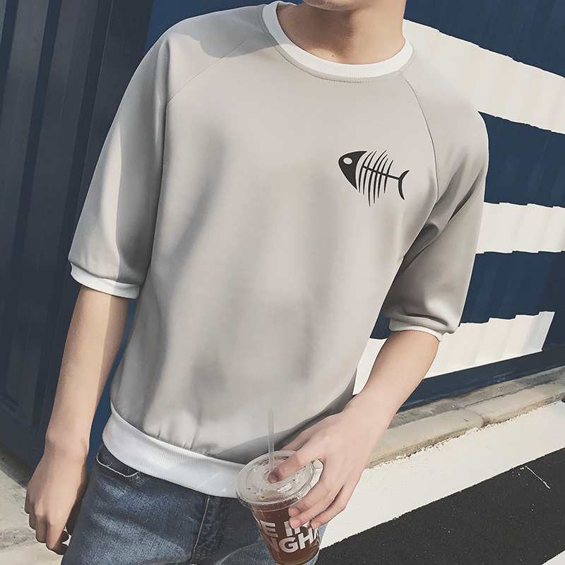 男士卫衣 夏季青少年短袖t恤男修身五分袖上衣服学生韩版潮流半袖卫衣5分袖_推荐淘宝好看的男卫衣