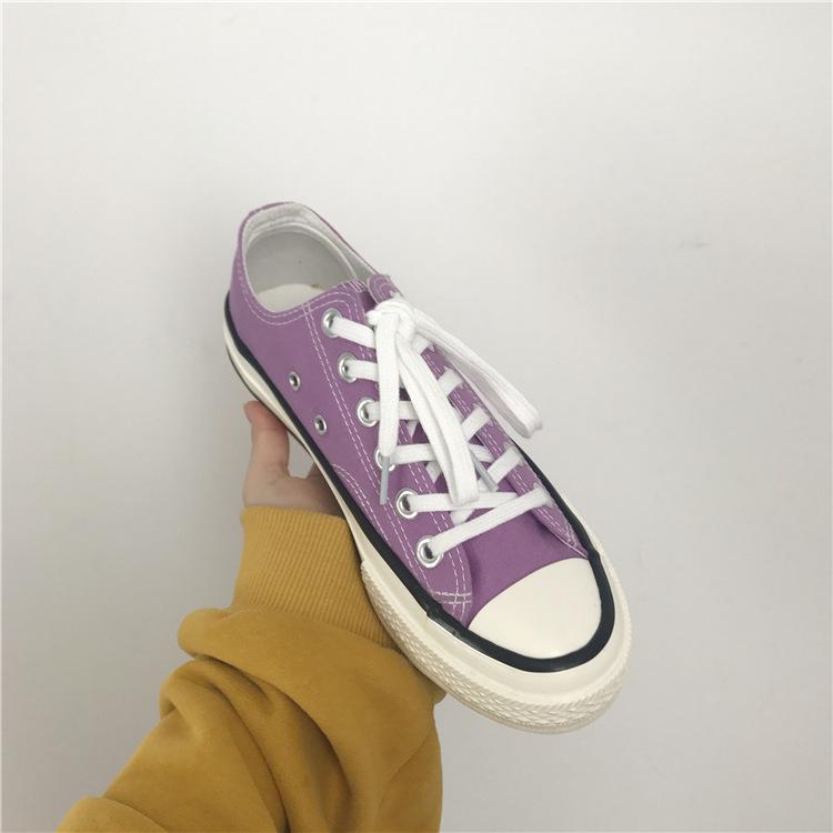 紫色帆布鞋 1970s复刻紫色情侣帆布鞋男女鞋港风复古学生布鞋韩国ulzzang球鞋_推荐淘宝好看的紫色帆布鞋