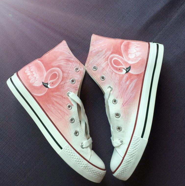 粉红色高帮鞋 回力火烈鸟手绘子安图申同款高帮帆布鞋粉色鸟抖音女款粉红色板鞋_推荐淘宝好看的粉红色高帮鞋
