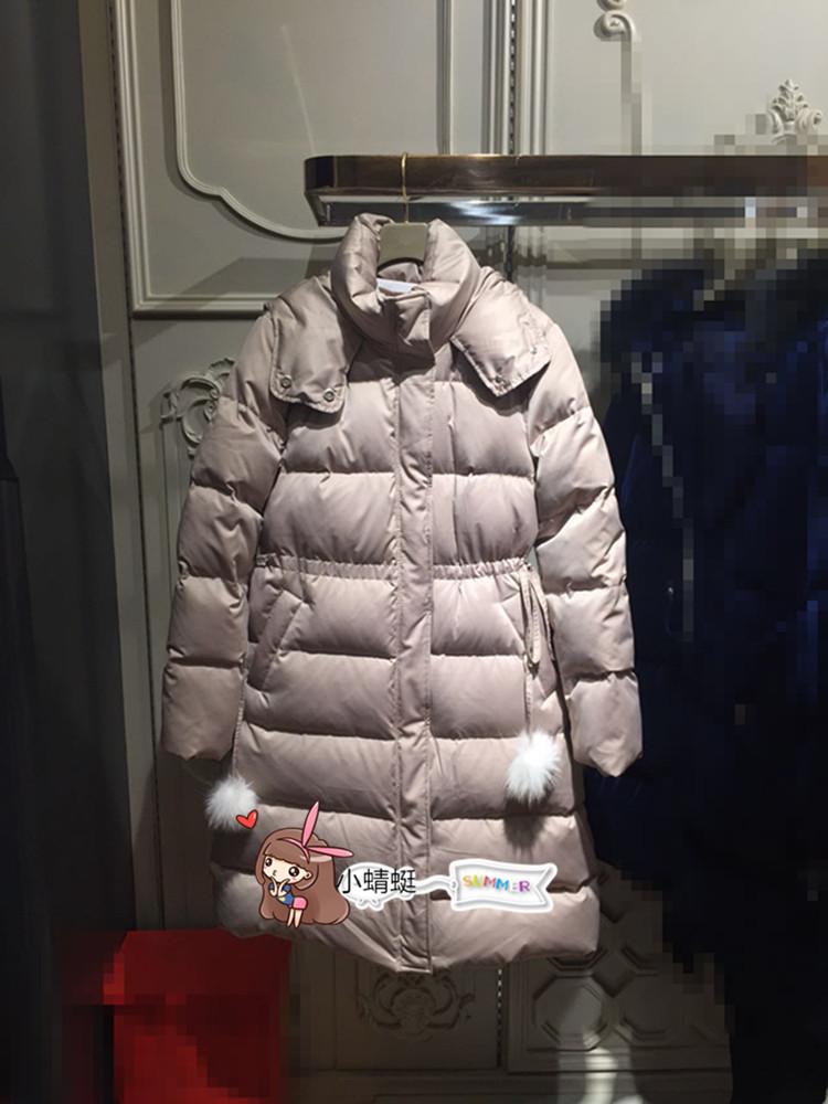 欧时力羽绒服 欧时力丹妮2017冬装新款纯色连帽收腰羽绒服外套中长款1JY4331040_推荐淘宝好看的欧时力羽绒服