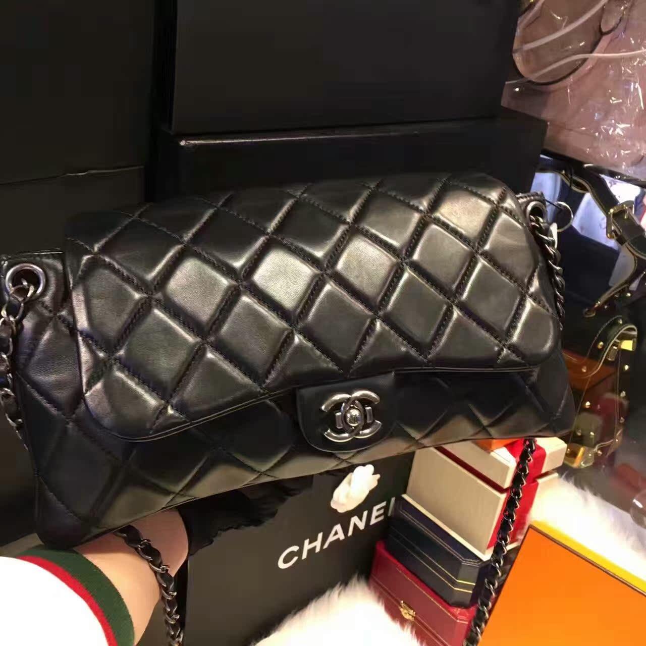 chanel链条包 Chanel黑色牛皮黑金中号CF链条包奢侈品单肩包二手正品_推荐淘宝好看的chanel链条包