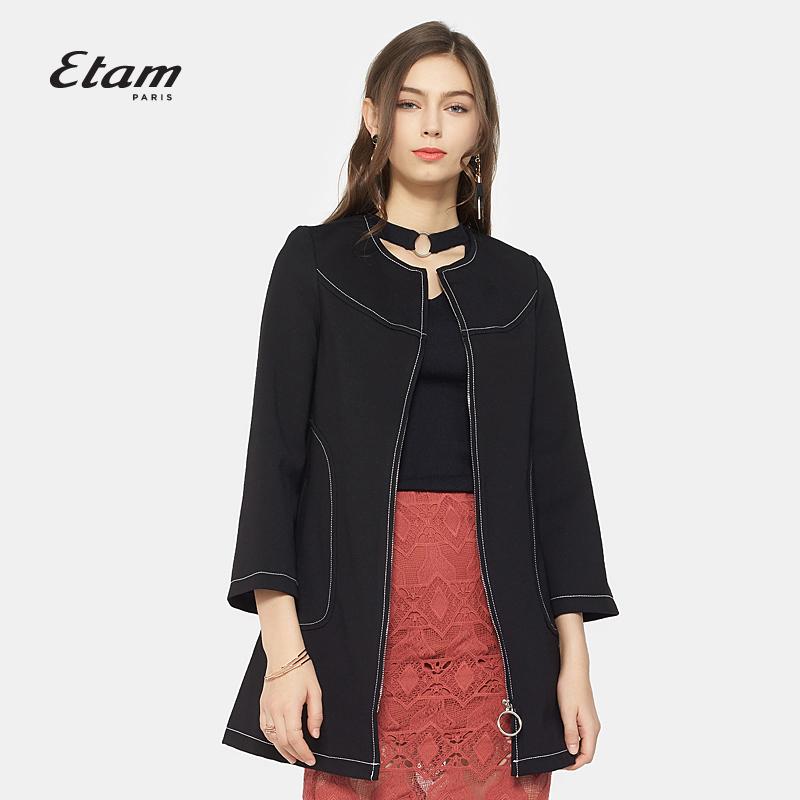 艾格风衣 艾格Etam 时尚休闲 简约中长款风衣外套女8A013406895_推荐淘宝好看的艾格风衣