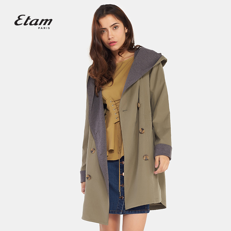 艾格风衣 艾格Etam 时尚双排扣休闲风衣外套女8A013409634_推荐淘宝好看的艾格风衣