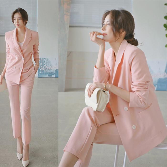 粉红色小西装 2018春季新款修身女西装套装韩版中长款双排扣粉色小西服两件套潮_推荐淘宝好看的粉红色小西装