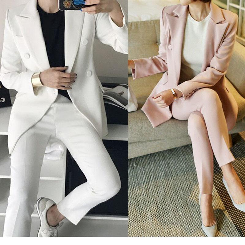 粉红色小西装 西服套装女韩国2017秋新款时尚白色小西装九分裤两件套职业装正装_推荐淘宝好看的粉红色小西装