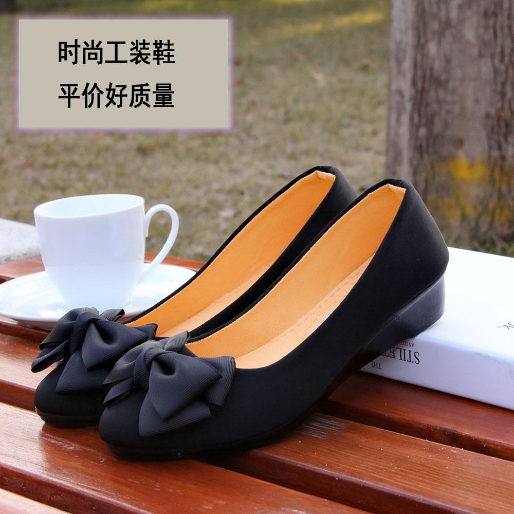 黑色坡跟鞋 春秋新款老北京布鞋女黑色工装鞋蝴蝶结女单鞋坡跟工作鞋舒适_推荐淘宝好看的黑色坡跟鞋