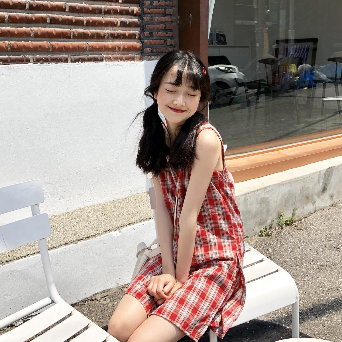 红色连衣裙 YUKI小树家 少女感满满红色格子连衣裙内是短裤防走光又凉快q0661_推荐淘宝好看的红色连衣裙