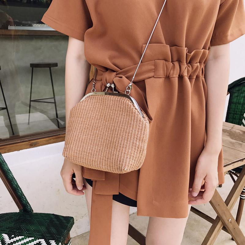 链条包 很好搭的小草包金属链条斜跨包编织贝壳包海边度假女_推荐淘宝好看的女链条包
