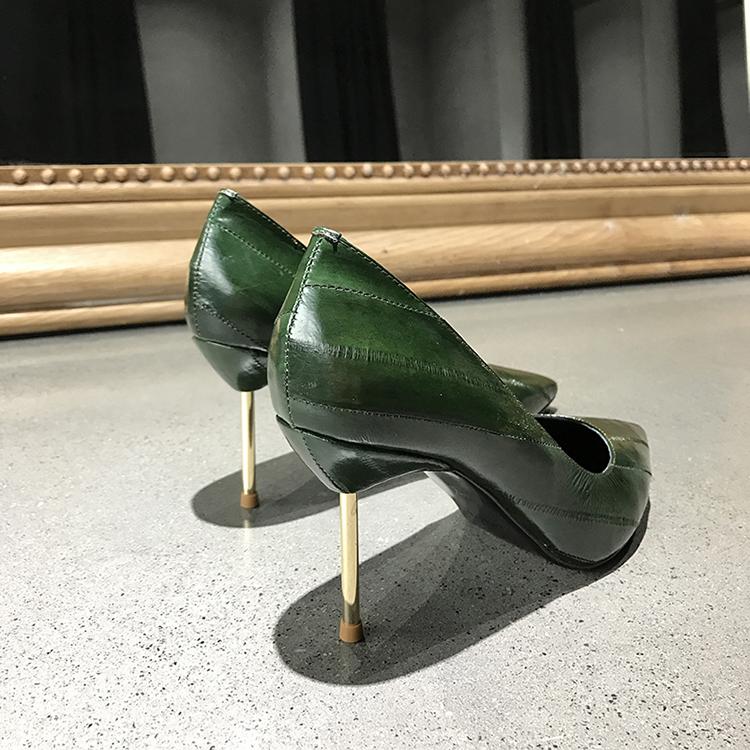绿色高跟鞋 欧洲风格站2018春新款鳗鱼皮电镀跟墨绿色尖头浅口高跟鞋单鞋女鞋_推荐淘宝好看的绿色高跟鞋
