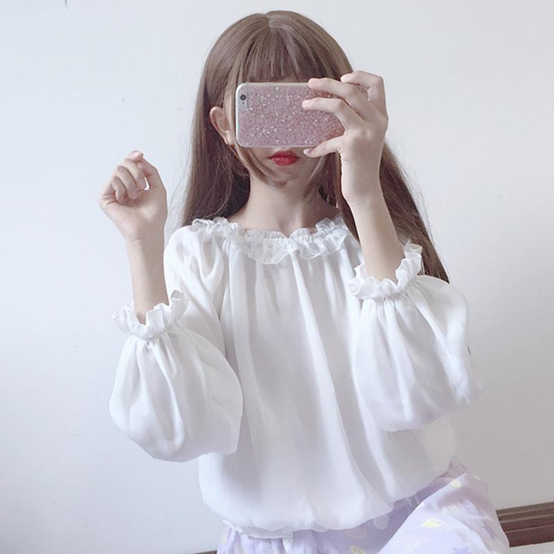 白色雪纺衫 2018春装新款韩版宽松百搭蕾丝灯笼袖衫长袖雪纺衫上衣夏女装学生_推荐淘宝好看的白色雪纺衫