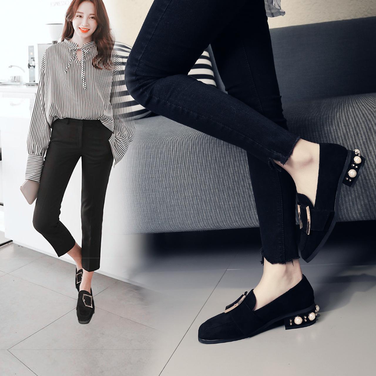 单鞋 2018春季新款单鞋女韩版方头金属扣珍珠跟百搭舒适粗跟女鞋_推荐淘宝好看的女单鞋