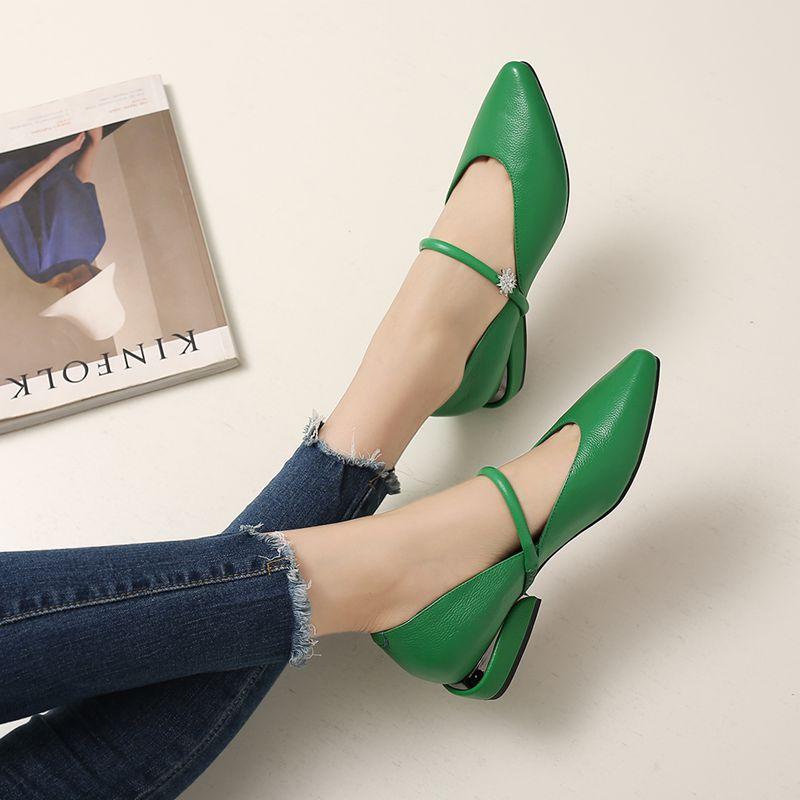 绿色尖头鞋 2018春夏季新款水钻浅口白色绿色真皮尖头一字带平跟平底鞋女单鞋_推荐淘宝好看的绿色尖头鞋