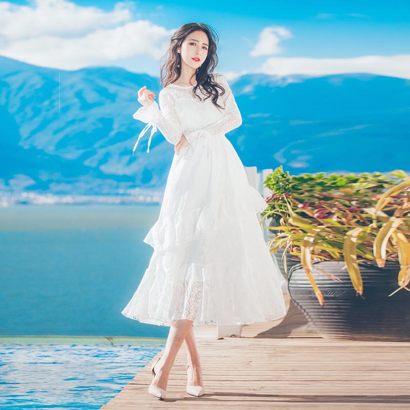 白色蕾丝连衣裙 春装2018新款白色蕾丝连衣裙清新少女温柔仙女裙海边度假裙中长款_推荐淘宝好看的白色蕾丝连衣裙