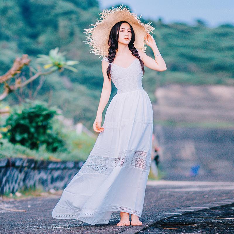 白色吊带连衣裙 夏季新款立体花朵性感蕾丝吊带连衣裙sukol裙少女海边度假长裙子_推荐淘宝好看的白色吊带连衣裙