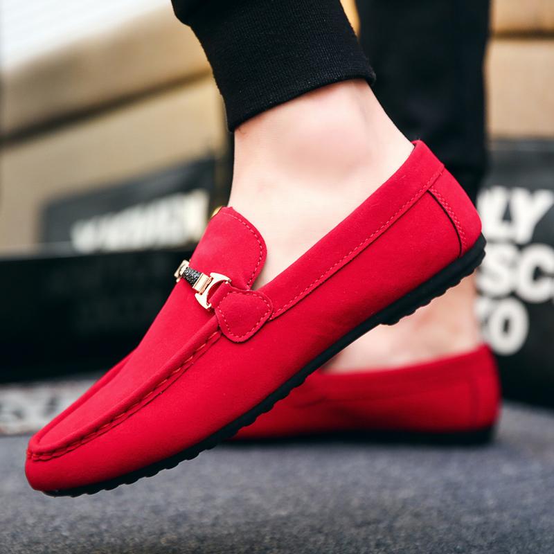 红色豆豆鞋 2018夏季新款社会豆豆鞋男一脚蹬懒人休闲鞋青少年红色软底驾车鞋_推荐淘宝好看的红色豆豆鞋