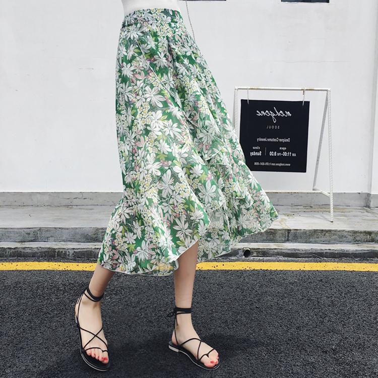 绿色雪纺半身裙 半身裙a字裙女夏鱼尾裙印花雪纺中长裙长款不规则荷叶边碎花裙子_推荐淘宝好看的绿色雪纺半身裙
