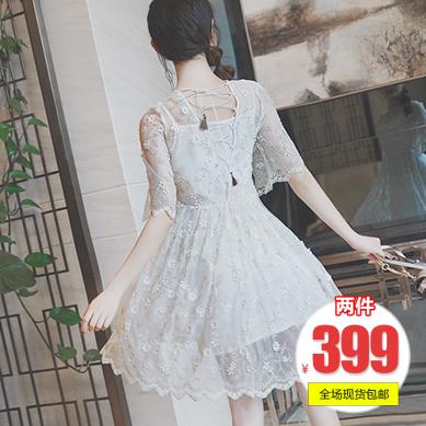 白色连衣裙 【2件399元】yibox仙美夏立体花露背蕾丝吊带连衣裙Q8517_推荐淘宝好看的白色连衣裙