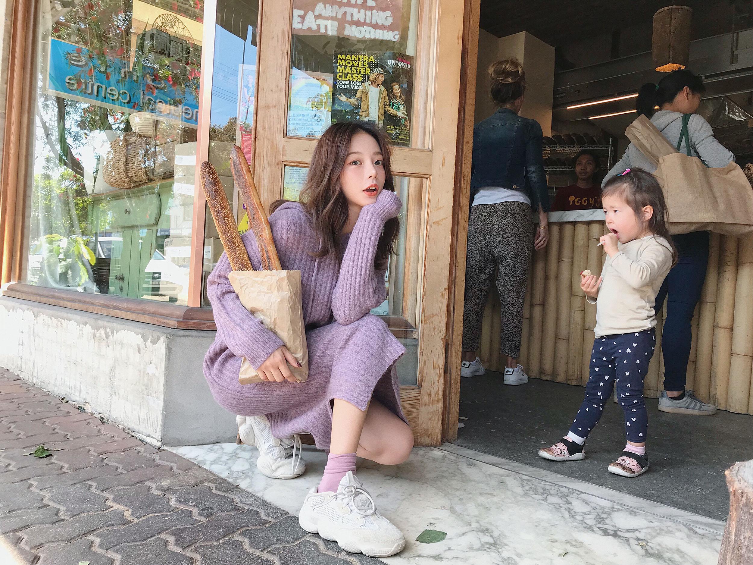 紫色连衣裙 钱夫人CHINSTUDIO 秋装女长袖针织连衣裙中长款开叉连帽毛衣裙子_推荐淘宝好看的紫色连衣裙