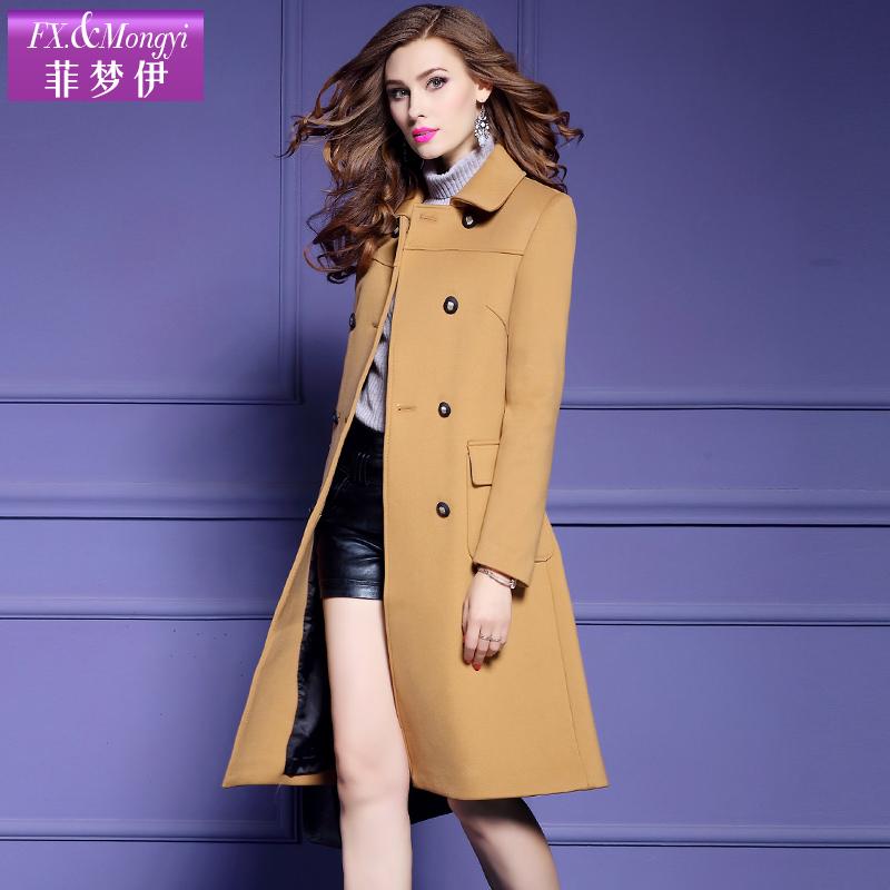 女士风衣外套 菲梦伊2017冬季新款纯色修身风衣女POLO领中长款大衣外套13390_推荐淘宝好看的女风衣外套