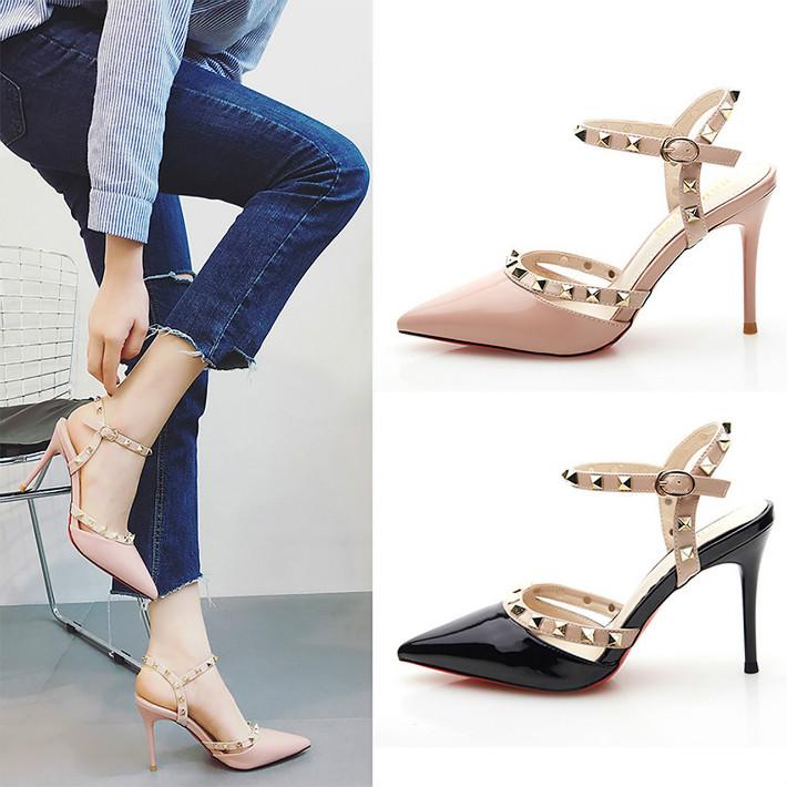 粉红色凉鞋 性感镂空 裸色9cm铆钉高跟鞋细跟尖头一字扣带包头凉鞋粉红色10cm_推荐淘宝好看的粉红色凉鞋