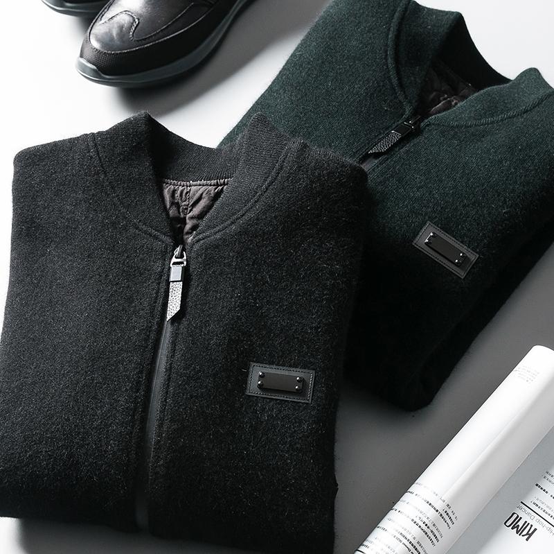 针织夹克 冬季高端加厚男装 保暖貂绒针织衫 男士棒球领夹棉羊毛夹克外套男_推荐淘宝好看的男针织夹克