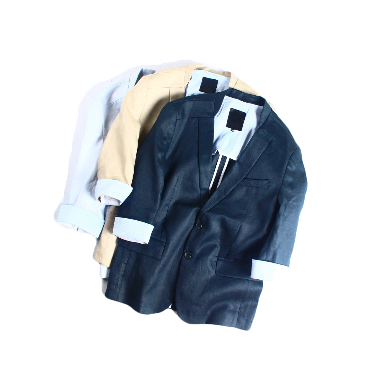 日本西装男 日系男高端苎麻气氛帅气显瘦七分袖西服修身小西装_推荐淘宝好看的日西装男