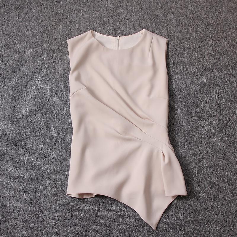 女装 气质女装2018夏装新款时尚修身显瘦圆领不规则无袖上衣_推荐淘宝好看的女装