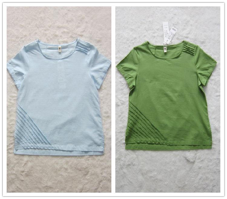 短袖衬衫 专柜正品牌低价新夏女上衣浅蓝豆绿色套头凉爽舒适棉麻料短袖衬衫_推荐淘宝好看的女短袖衬衫