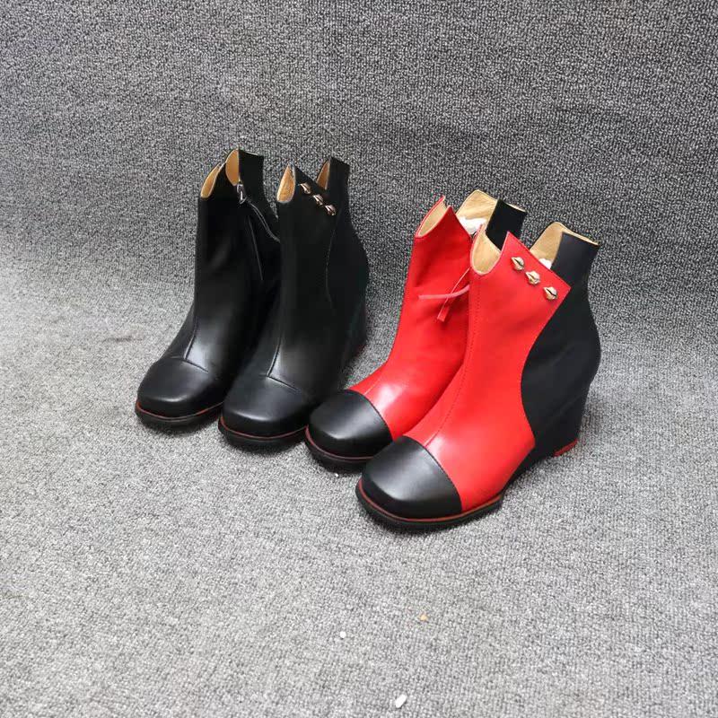 圆头短靴 真皮圆头拼色百搭舒适坡跟女短靴清货不退不换_推荐淘宝好看的女圆头短靴