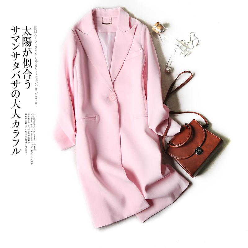 粉红色风衣 女风衣 韩版修身显瘦纯色中长款西装领外套 2018春季新款L31 32_推荐淘宝好看的粉红色风衣