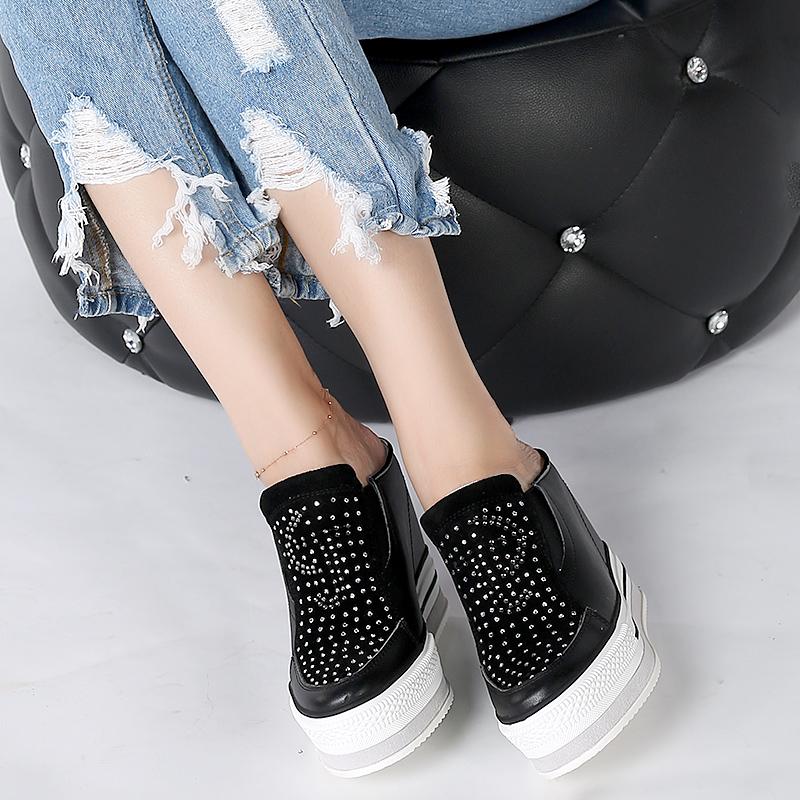 坡跟鞋 2018春夏厚底真皮半拖鞋女坡跟12cm外穿 大小码33-40内增高凉拖鞋_推荐淘宝好看的女坡跟鞋