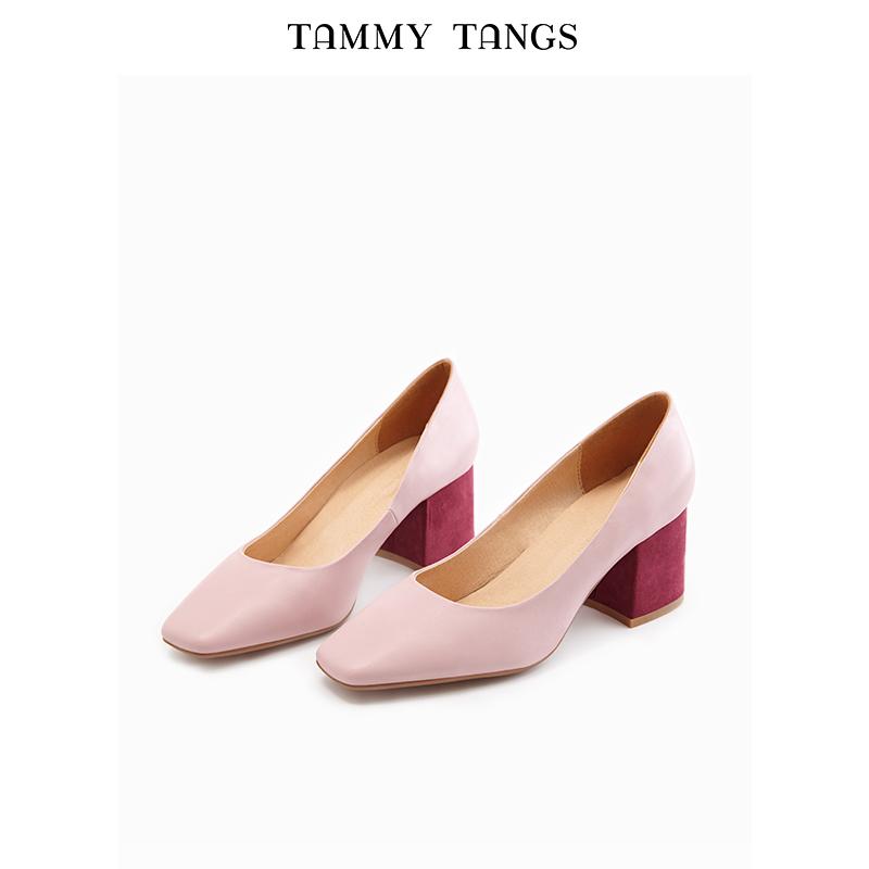粉红色单鞋 糖力2018夏季新款粉红色欧美女鞋方头浅口粗跟高跟鞋女套脚单鞋_推荐淘宝好看的粉红色单鞋