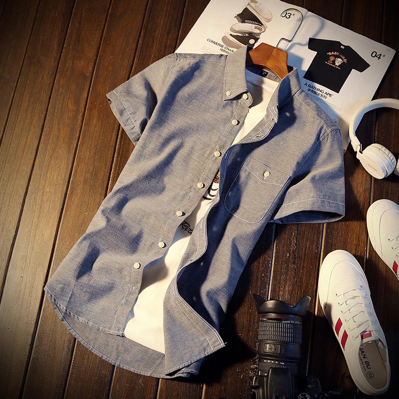 男士衬衫 2018新款休闲衬衫男短袖修身韩版潮流帅气青少年寸衫学生男士衬衣_推荐淘宝好看的男衬衫