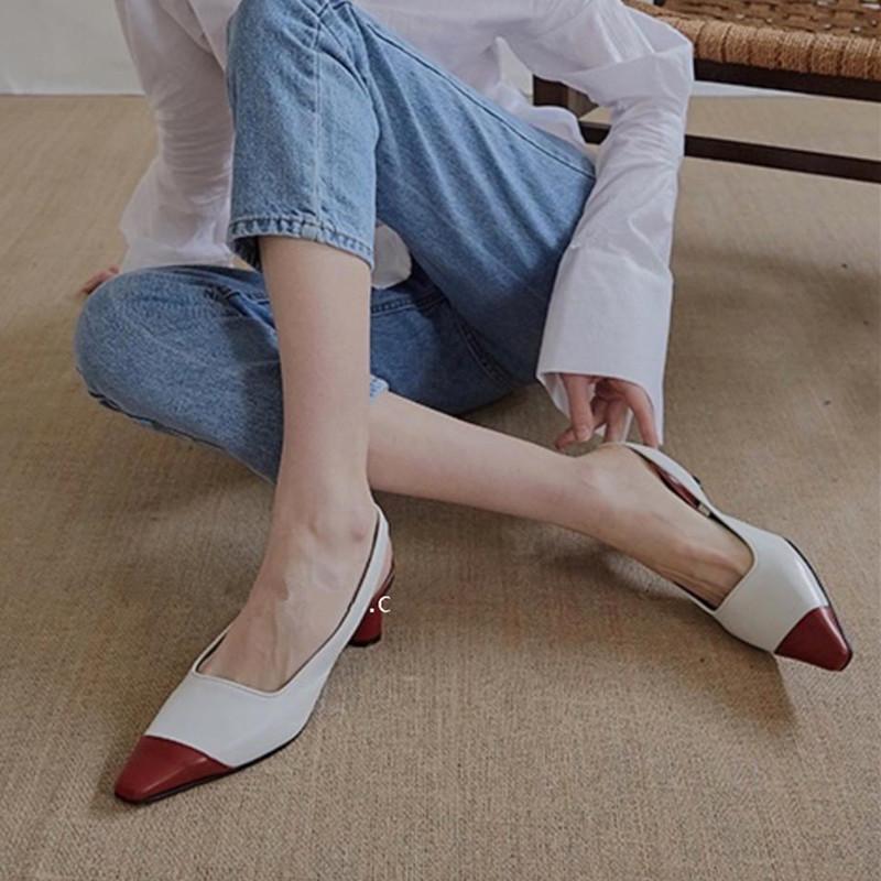 白色高跟凉鞋 5厘米尖头拼色高跟单鞋白色后空粗跟凉鞋韩版同款时尚包头拖鞋女_推荐淘宝好看的女白色高跟凉鞋