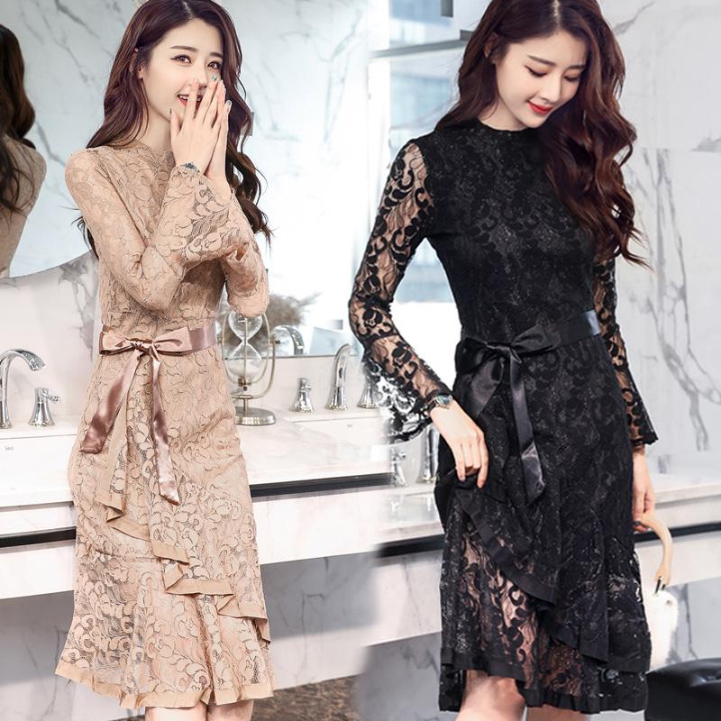 蕾丝连衣裙新款 春款上衣女2018新款韩版内搭优雅蕾丝裙中长款黑色显瘦蕾丝连衣裙_推荐淘宝好看的蕾丝连衣裙新款