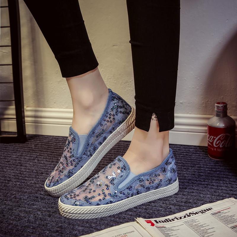 白色帆布鞋 夏季新款蕾丝网布鞋女镂空透气帆布鞋一脚蹬懒人鞋白色平底休闲鞋_推荐淘宝好看的白色帆布鞋
