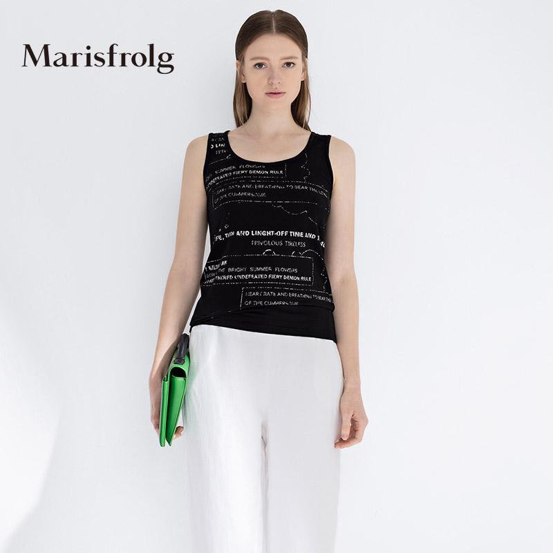 玛丝菲尔女装 Marisfrolg玛丝菲尔夏季女装时尚印花百搭背心打底上衣专柜正品_推荐淘宝好看的玛丝菲尔