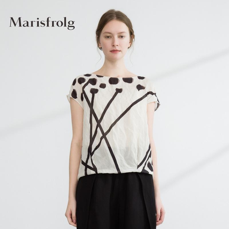 玛丝菲尔女装 Marisfrolg玛丝菲尔女装知性优雅艺术印花上衣夏季新品商场同款_推荐淘宝好看的玛丝菲尔