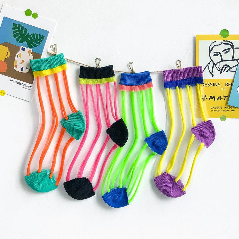 糖果色短丝袜 糖果色袜子儿童玻璃丝袜薄款女童短袜网眼丝袜宝宝中筒袜子彩色潮_推荐淘宝好看的糖果色短丝袜
