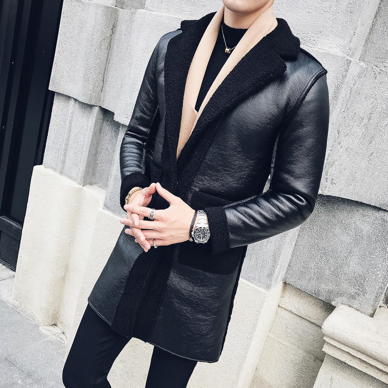 男士长款皮衣 冬季新款加绒加厚皮毛一体大衣男中长款风衣保暖修身男士皮衣外套_推荐淘宝好看的男长款皮衣