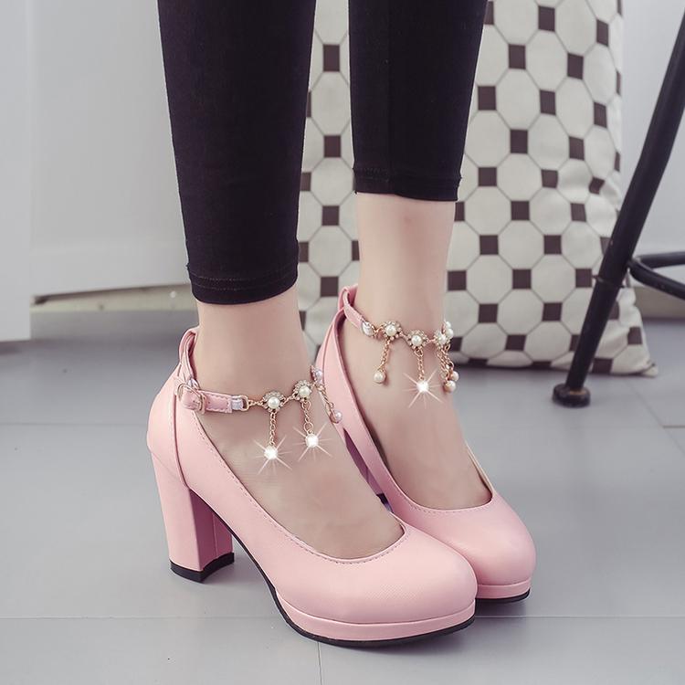白色高跟鞋 婚纱鞋子白色水钻鞋婚鞋女黑色粗跟一字扣粉色高跟鞋伴娘鞋礼服鞋_推荐淘宝好看的白色高跟鞋