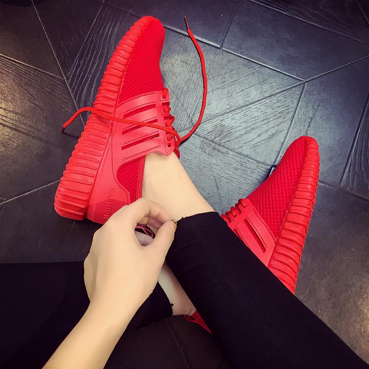 红色运动鞋 春秋新款红色鞋情侣跑步运动鞋纯色针织潮流百搭韩版爆款男女同款_推荐淘宝好看的红色运动鞋