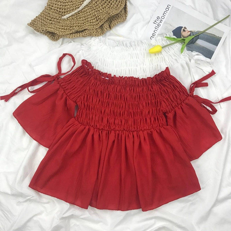 红色雪纺衫 夏季韩风气质chic超仙女大红色一字肩系带雪纺衫荷叶边漏肩上衣女_推荐淘宝好看的红色雪纺衫
