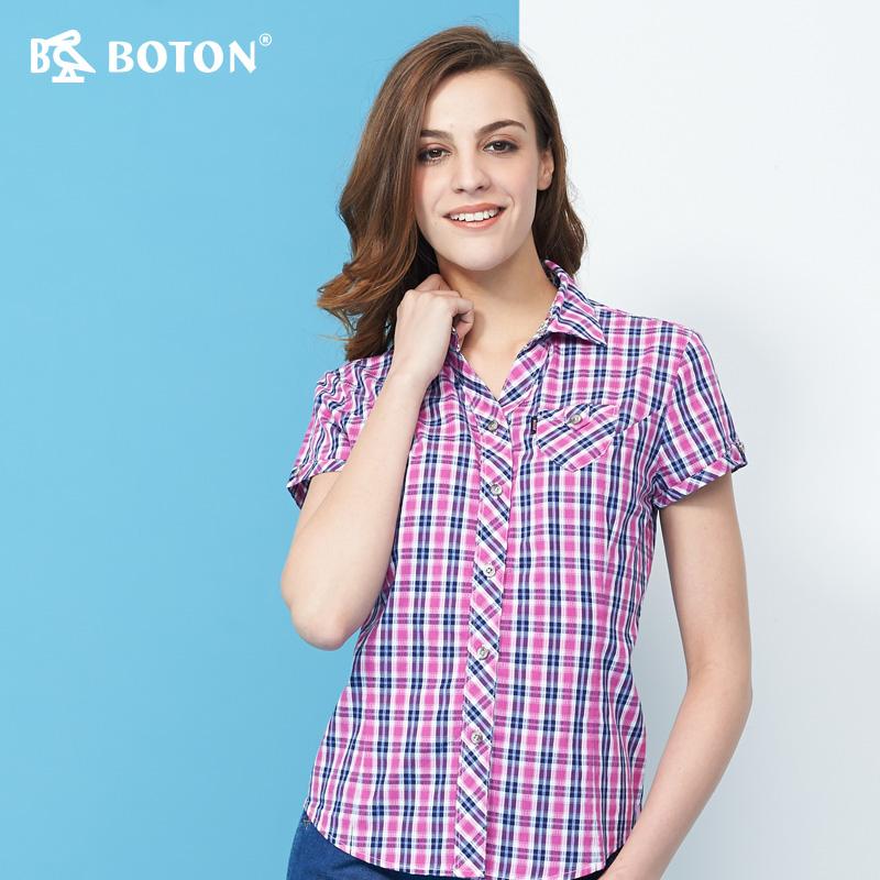红格子衬衫 Boton波顿紫红色修身短袖衬衫夏装全棉女式衬衣中年格子夏季薄款_推荐淘宝好看的女红格子衬衫