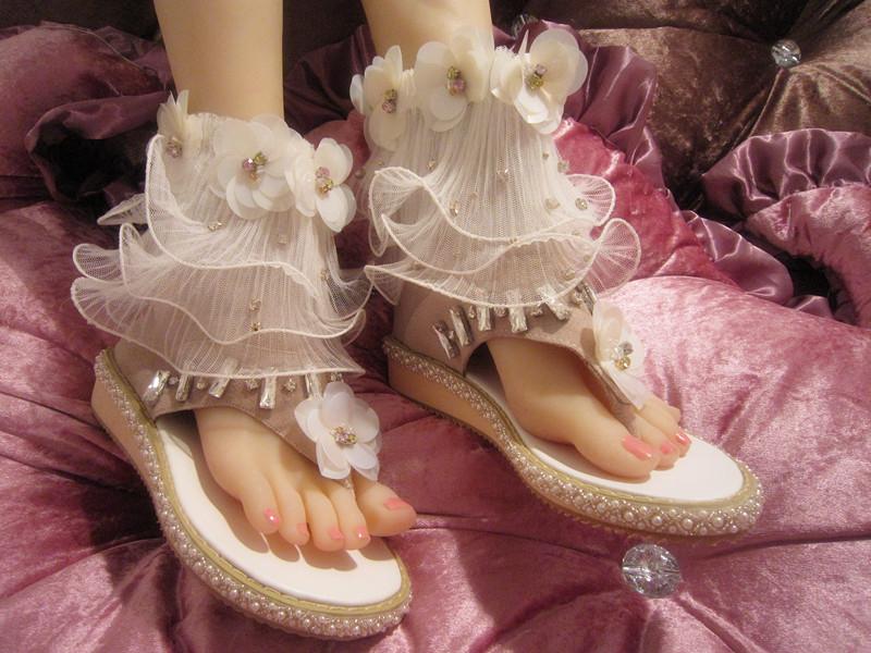 罗马凉鞋 SEX欧洲站真皮手工镶钻亮片花朵网纱夹角平底厚底罗马凉靴女凉鞋_推荐淘宝好看的女罗马凉鞋