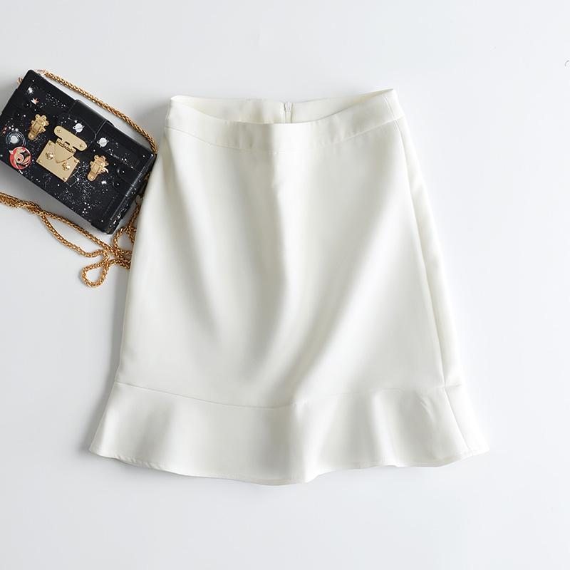 白色半身裙 灵动层次更减龄 精致包臀修身优雅鱼尾裙摆半身裙短裙6869_推荐淘宝好看的白色半身裙